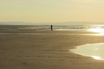 Beach evening pas de calais france man market