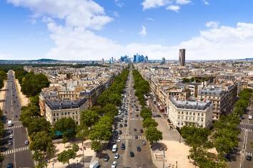 Paris skyline champs elysees and la defense
