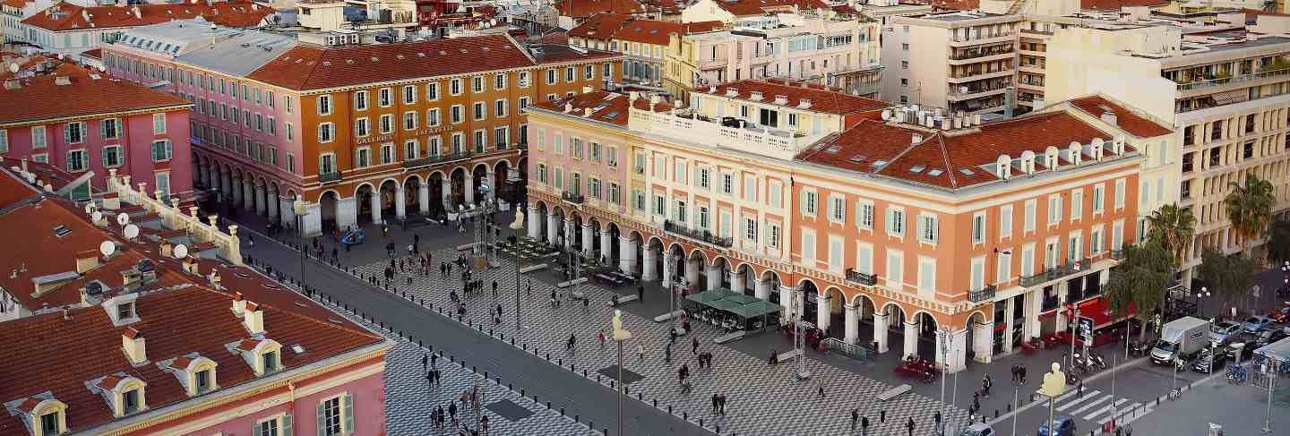 Aerial view of place massena square in nice, france