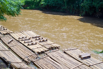 Bamboo rafts prepared and ready for a tourists
