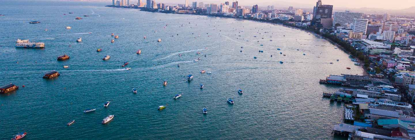 Aerial view of sea in pattaya , thailand
