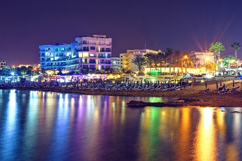 Night cityscape and sea in cyprus