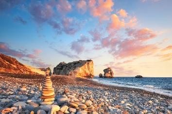 Sunset near petra tou romiou, cyprus, paphos