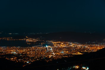 Night lights of the city from a bird's-eye view. Makrinitsa