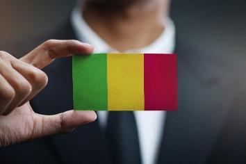 Businessman holding card of mali flag