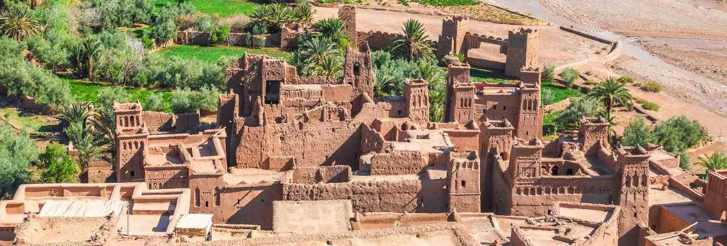 Ksar ait benhaddou view from above, ouarzazate, morocco.