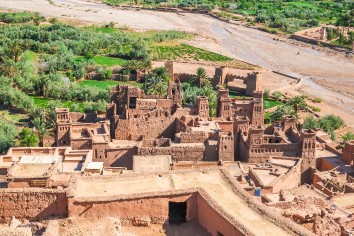 Ksar ait benhaddou view from above, ouarzazate, morocco.