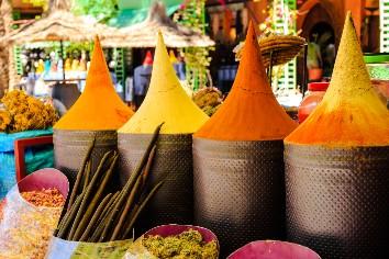 Moroccan spice stall in marrakech market, morocco