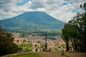 Antigua guatemala view, volcano as background.