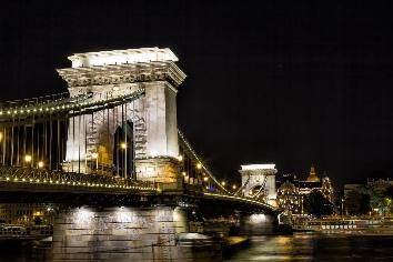 Szechenyi chain bridge at night in the city of budapest, hungary