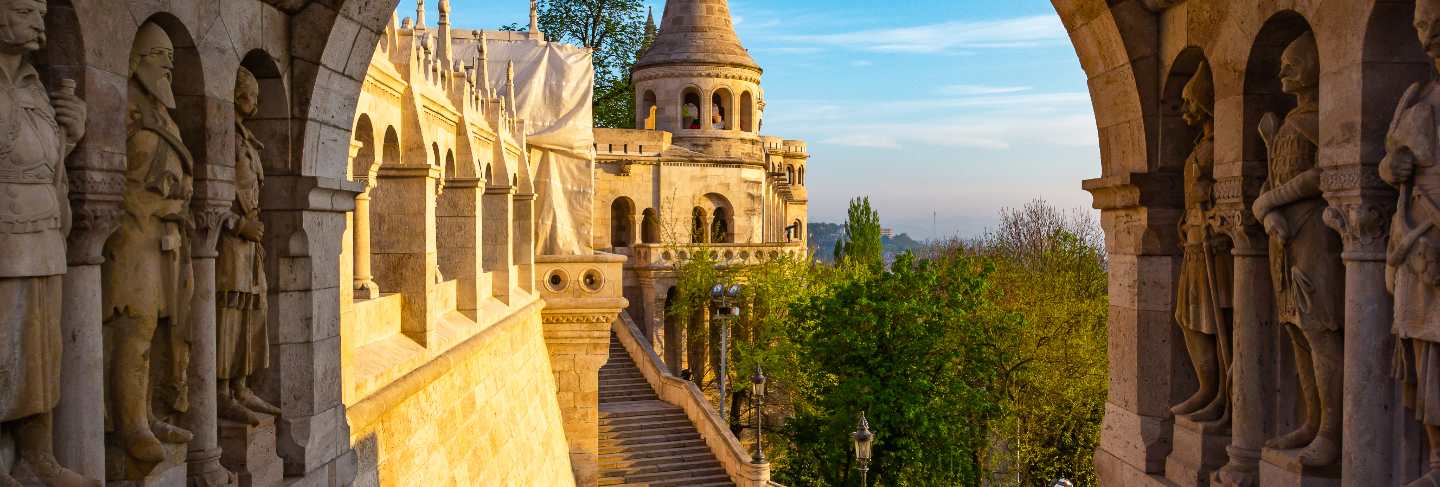 View on the old fisherman bastion in budapest. arch gallery