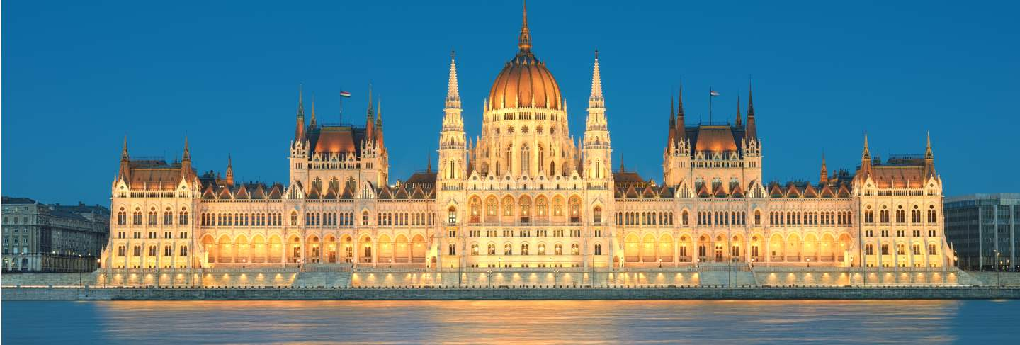 Parliament building in budapest, hungary in evening lights