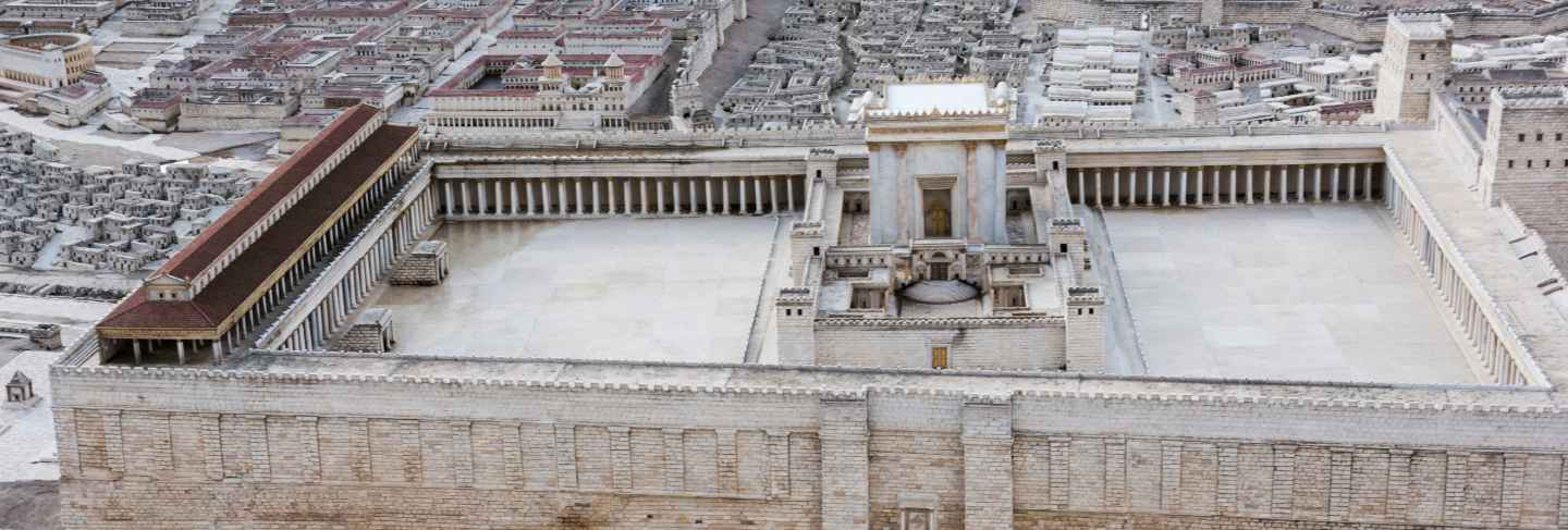 High angle view of second temple model, israel museum, jerusalem