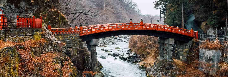 Heritage red bridge in japan