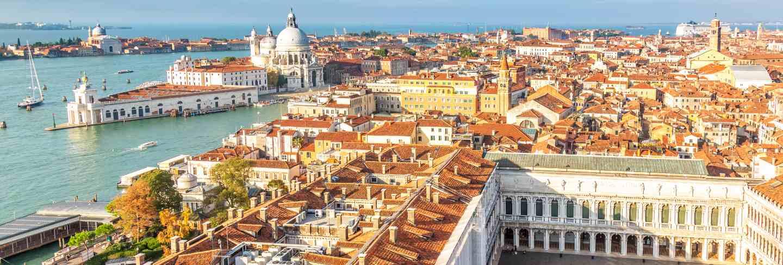 Aerial view of venice, santa maria della salute and piazza san marco
