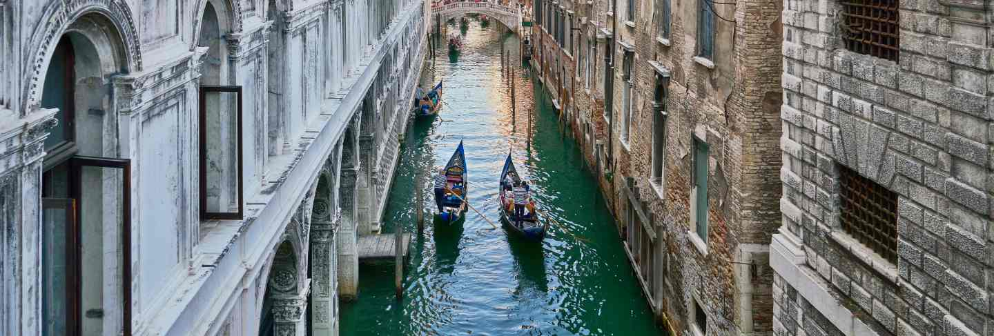 Venice, italy. view from bridge of sighs. traditional narrow canal with gondolas in venice, italy
