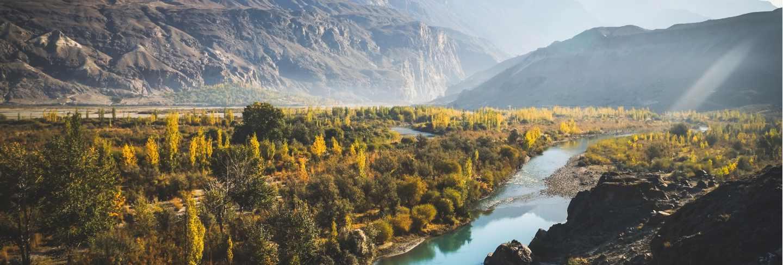 River flow through gakuch in autumn. Premium Photo