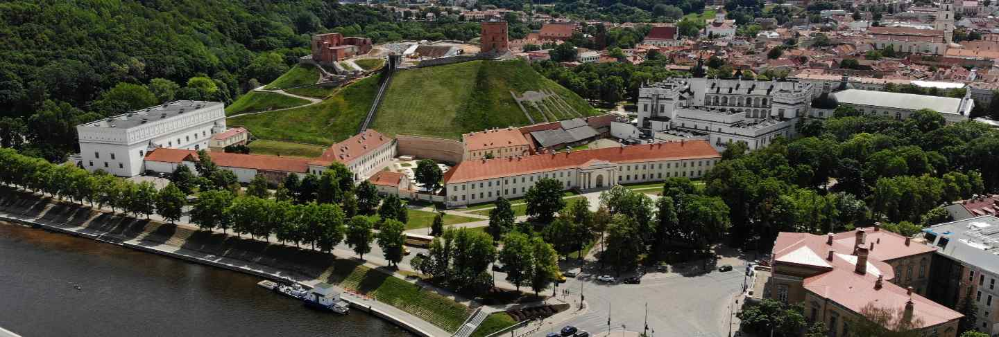 Outstanding view from above on the beautiful and calm city vilnius. the capital of european baltic country lithuania.