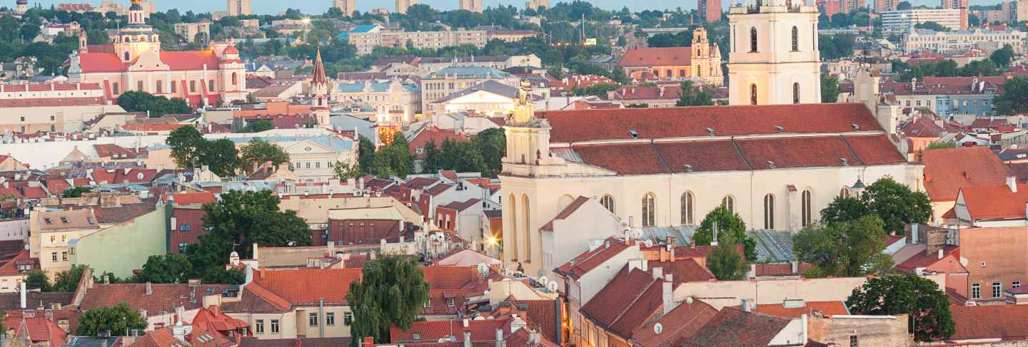 Panoramic view of vilnius old town at sunset