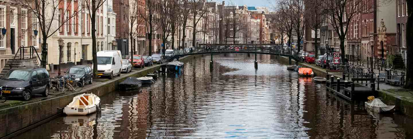 Famous view at canals in amsterdam