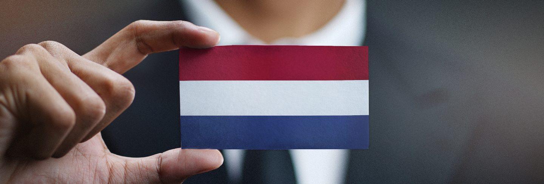 Businessman holding card of netherlands flag