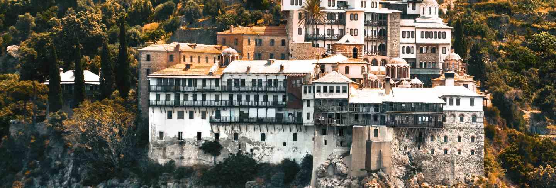 Osiou gregoriou monastery, view from the sea