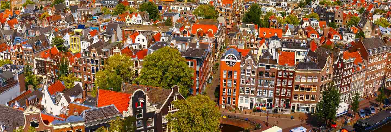 Amsterdam city view from westerkerk, holland, netherlands