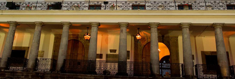 Low angle view of a building, casa de gobierno de ecuador, historic center, quito, ecuador