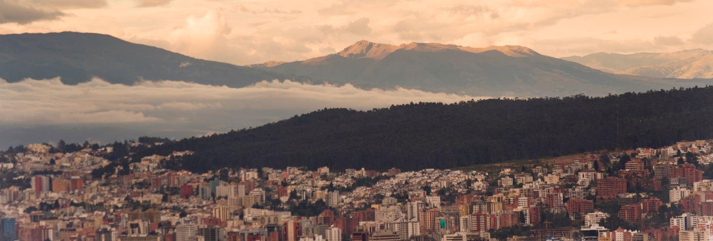 Quito cityscape with a mountain range in the background, ecuador
