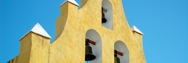 The ancient church in campeche, yucatan, mexico