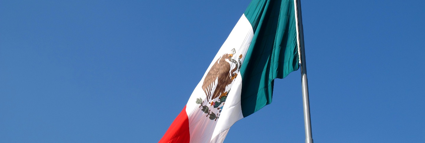 The flag on zocalo ( plaza de la constitucion ), mexico city, mexico
