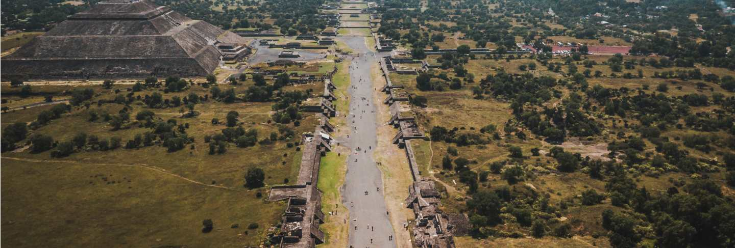 Aerial view of pyramid of the sun. teotihuacan. mexico. view from the pyramid of the moon.