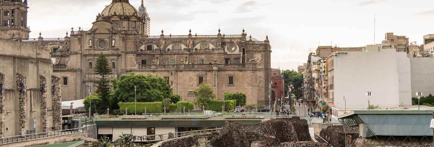 Mexico city downtown cathedral and templo mayor