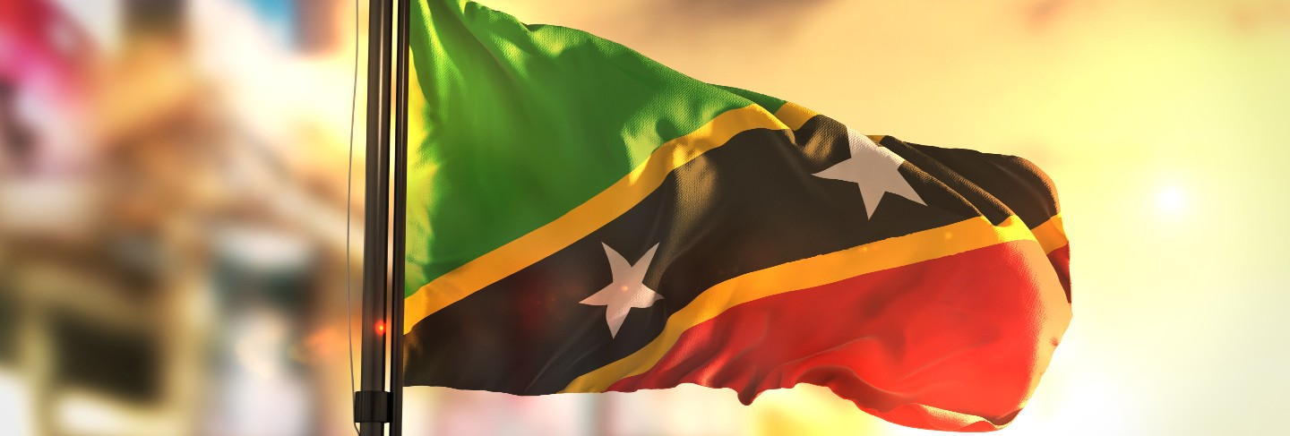 Saint kitts and nevis flag against city blurred background at sunrise backlight