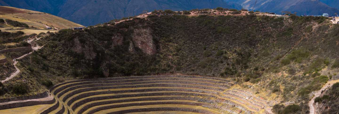 The archaeological site at moray, travel destination in cusco region and the sacred valley, peru. majestic concentric terraces, supposed inca's food farming laboratory.