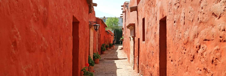 Narrow stone path inside santa catalina monastery, unesco world heritage site in arequipa, peru