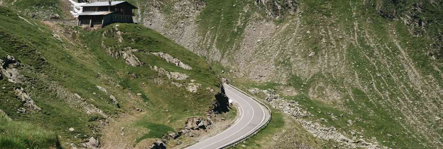Scenic view of the winding transfagaras mountain road in the transylvanian alps