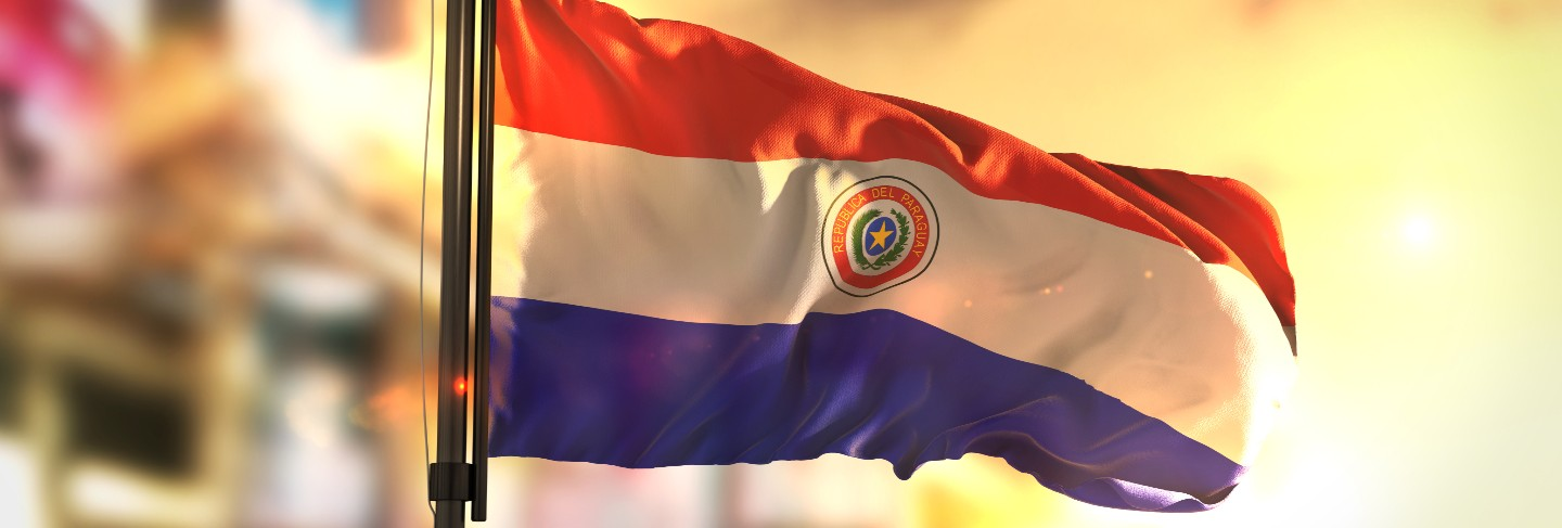 Paraguay flag against city blurred background at sunrise backlight