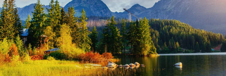 Majestic mountain lake in national park high tatra.