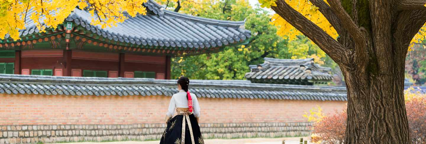 Asian korean woman dressed hanbok in traditional dress walking at seoul, south korea