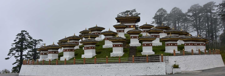 View of the druk wangyal chortens, dochula pass, bhutan
