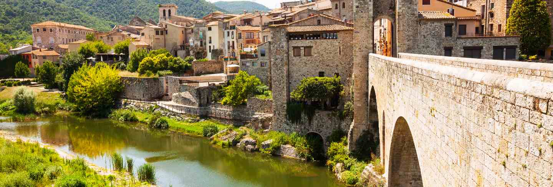 Medieval stone bridge over fluvia river in besalu
