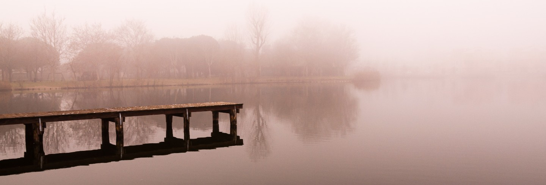 Winter and foggy lake scene