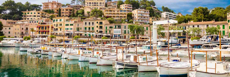 View of port de soller, bay of majorca island, spain mediterranean sea