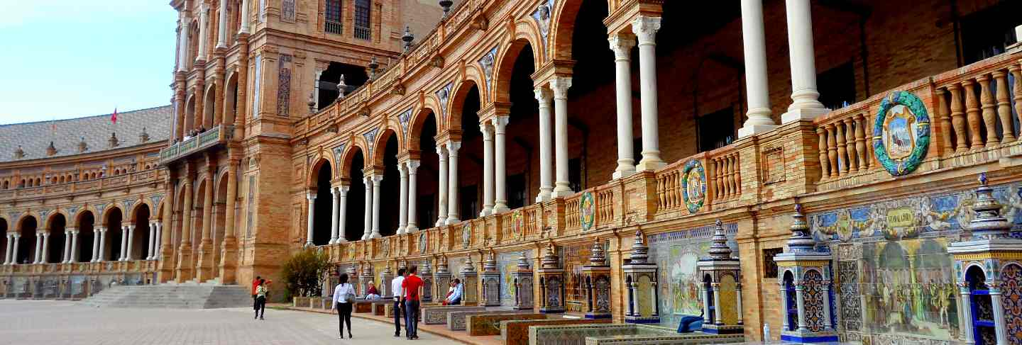 The series of benches at the facade of plaza de espana square, seville