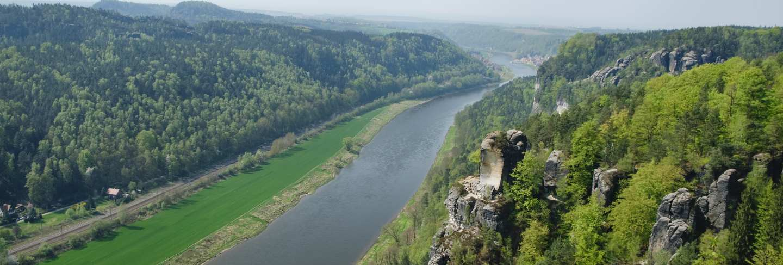 Rocks Bastei in Saxon Switzerland national park
