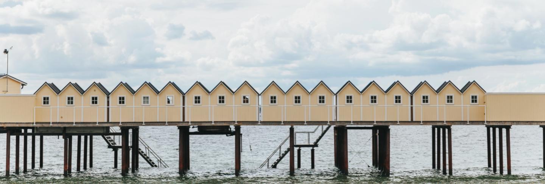Bathing huts in helsingborg, sweden.