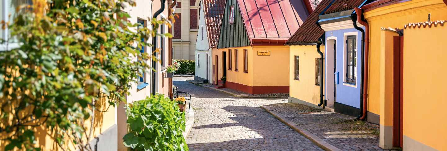 Typical architectural street scene from the small swedish city ystad in south sweden.