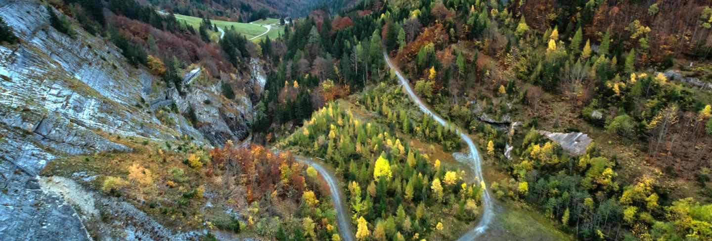 Alpine mountain landscapes and valleys in Switzerland.