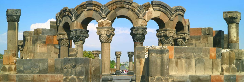 The 7th century built zvartnots cathedral, in armavir province of armenia